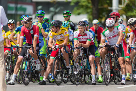 minsk: Minsk, Belarus-July 8, 2017: Group of Youth Road Cyclists in Professional Peloton During International Road Cycling Competition Grand Prix Minsk-2017 on July 8, 2017 in Minsk, Republic of Belarus.