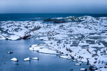 Snowy and Stony Lofoten Islands Seascape in Norway.Horizontal Image