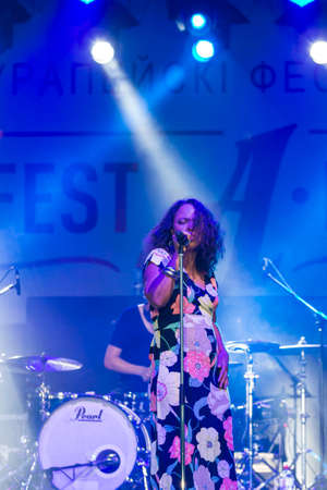 Minsk, Belarus-August 12, 2017: Vocalist and Singer Pat Appleton of World Renowned Jazz Ensemble De-Phazz Performing at A-Fest Music Festival on August 12, 2017 in Minsk, Republic of Belarus. Editorial