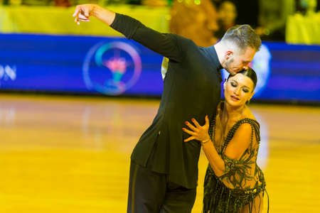 Minsk,Belarus-October 7,2017:Unidentified Pro-Am Dance Couple Performs Pro-Am International Scholarship Latin-American Program on WDSF International Capital Cup Minsk,October 7,2017, Minsk,Belarus