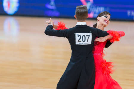 Minsk, Belarus-October 7, 2017: Dance Couple of Volkov Iliya and Stasyuk Ekaterina Performs Adults European Standard Program on WDSF International Capital Cup Minsk- 2017 in October 7, 2017 in Minsk, Belarus. Editorial