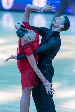 Minsk,Belarus-October 7,2017:Pro-Am Dance Couple of Aleksander Rodygin and Yulia Binus Performs Pro-Am International Scholarship Latin-American Program on WDSF International Capital Cup Minsk,October 7,2017, Minsk,Belarus Editorial