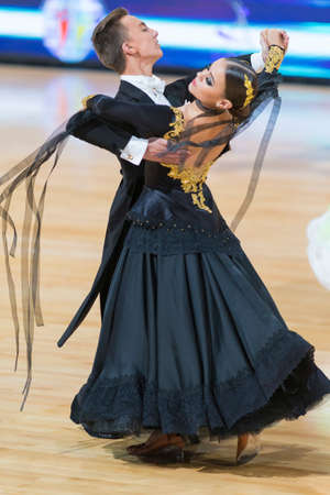 Minsk, Belarus-October 7, 2017: Unidentified Dance Couple Performs Adults European Standard Program on WDSF International Capital Cup Minsk- 2017 in October 7, 2017 in Minsk, Belarus. Editorial