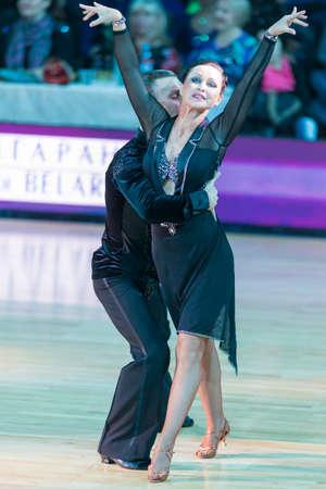Minsk,Belarus-October 7,2017:Pro-Am Dance Couple of Dmitriy Pleshkov and Nadezhda Shcherchkova Performs Pro-Am International Scholarship Latin-American Program on WDSF International Capital Cup Minsk,October 7,2017, Minsk,Belarus