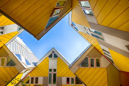 Rotterdam, The Netherlands -May 11, 2017: Modern Buildings City Architecture Design Elements Known as Cubic Houses Designed by Piet Blom in Rotterdam City Center in May 11, 2017 in Rotterdam, The Netherlands. Horizontal Image Stock Photo