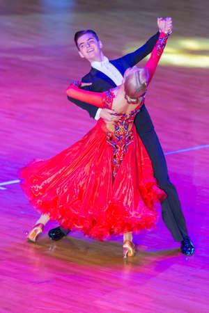 Minsk, Belarus –October 29, 2017: Professional Dance Couple Perform Youth Standard European Program on the WDSF International WR Dance Cup in October 29, 2017 in Minsk, Republic of Belarus Redakční
