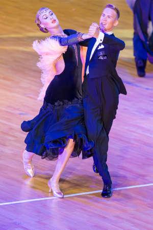 Minsk, Belarus �October 29, 2017: Professional Dance Couple Perform Youth Standard European Program on the WDSF International WR Dance Cup in October 29, 2017 in Minsk, Republic of Belarus