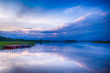Travel Concepts and Ideas. Peaceful Picturesque Landscape of The Strusto Lake as a Part of National Braslav Lakes Nature Reserve. Horizontal Image Composition