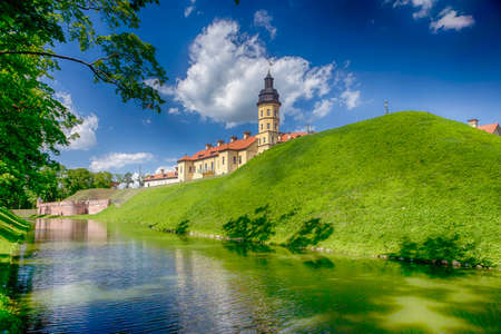 Backside of Renowned Nesvizh Castle on The Moat as a Profound Example of Medieval Ages Heritage and Residence of the Radziwill Family. 版權商用圖片