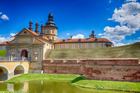 Travel Concepts and Tourist Destinations. Renowned Nesvizh Castle as a Profound Example of Medieval Ages Heritage and Residence of the Radziwill Family.Horizontal Shot Editorial