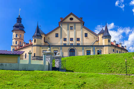 Famous Tourist Destinations. Renowned Nesvizh Castle on The Hill as a Profound Example of Medieval Ages Heritage and Residence of the Radziwill Family.Horizontal Shot