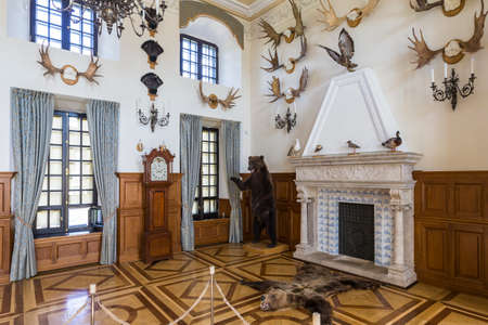 Nesvizh,Belarus-August 5,2017:The Hunting Hall of Castle Used as Transit Corridor to The gallery of The Chapel.Had Trophies of Antlers of Deers, Stuffed Bears, Wood-Grouses and Other Birds and Animals,August 5,2017,Nesvizh,Belarus