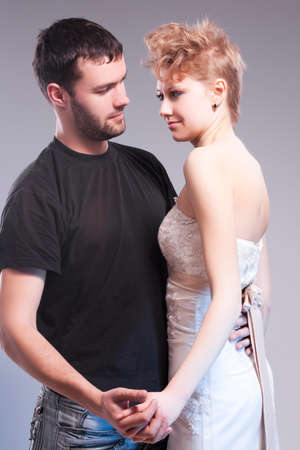 Relationships Ideas and Concepts. Playful Caucasian Couple Embracing Together.