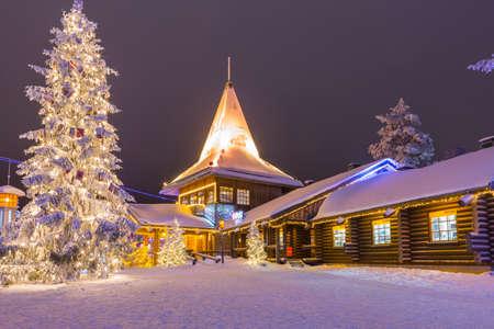 Rovaniemi- Finland, December 29, 2017:  Residential House and Office of Santa Claus (Joulupukki) in Rovaniemi Village in Finland in December 29, 2017