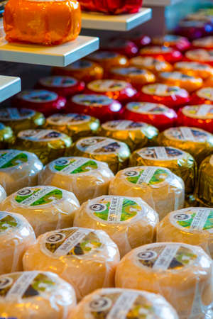 Rotterdam-The Netherlands, May 11: Plenty of Dutch Assorted Premium Cheese Just Produced for Sale in Rotterdam, on May 11, 2017