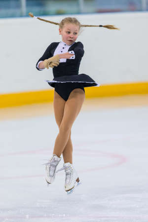 Minsk, Belarus –April 22, 2018: Female Figure Skater from Belarus Elizaveta Pikulik Performs Cubs A Girls Free Skating Program at Minsk Arena Cup 2018 in April 22, 2018, in Minsk, Belarus