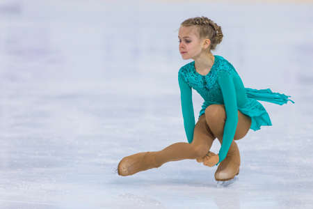 Minsk, Belarus �April 22, 2018: Female Figure Skater from Belarus Dariya Puseva Performs Cubs A Girls Free Skating Program at Minsk Arena Cup 2018 in April 22, 2018, in Minsk, Belarus Editorial