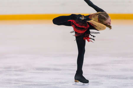 Minsk, Belarus –April 22, 2018: Female Figure Skater Performs Girls Free Skating Program at Minsk Arena Cup 2018 in April 22, 2018, in Minsk, Belarus Editorial