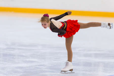 Minsk, Belarus –April 22, 2018: Female Figure Skater from Russia Alla Lyubimbova Performs Cubs B Girls Free Skating Program at Minsk Arena Cup 2018 in April 22, 2018, in Minsk, Belarus