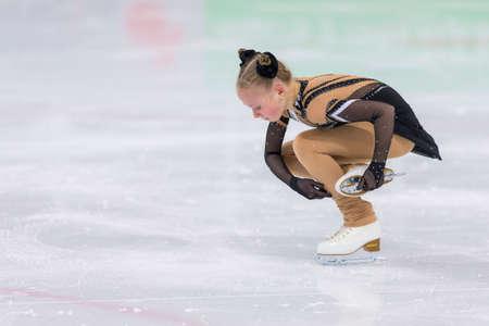 Minsk, Belarus –April 22, 2018: Female Figure Skater from Russia Margarita Kosinenko Performs Cubs A Girls Free Skating Program at Minsk Arena Cup 2018 in April 22, 2018, in Minsk, Belarus Editorial