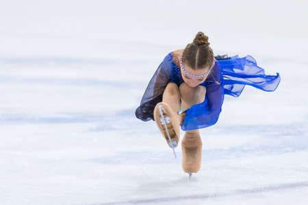 Minsk, Belarus �April 22, 2018: Female Figure Skater from Belarus Anastasiya Zazulinskaya  Performs Cubs B Girls Free Skating Program at Minsk Arena Cup 2018 in April 22, 2018, in Minsk, Belarus