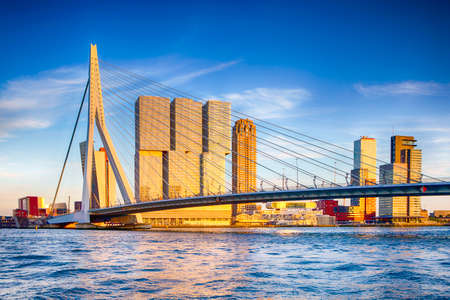 Famous Travel Destinations. Attractive View of Renowned Erasmusbrug (Swan Bridge) in  Rotterdam in front of Port and Harbour. Picture Made Before the Sunset. Horizontal Image Orientation