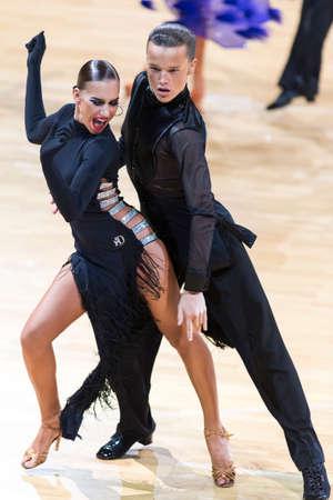 Minsk, Belarus-October 14, 2018: Professional Dance Couple Performs Adult Latin-American Program on WDSF International Capital Cup Minsk,October 14, 2018, Minsk,Belarus.