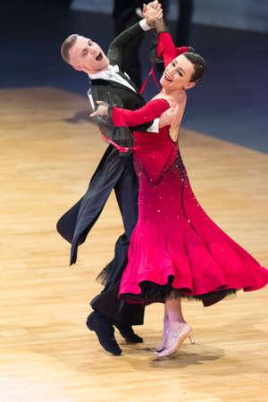 Minsk, Belarus-October 14, 2018: Dance Couple Performs WDC World Professional 10 Dance Pro-Am International Scholarship on European Standard Program on Capital Cup,October 14, 2018, Minsk, Belarus Editorial