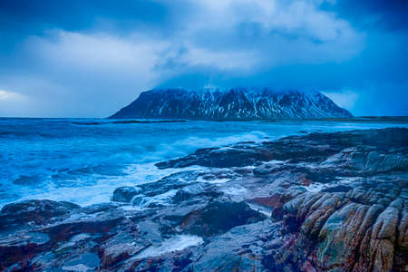 Amazing and Picturesque Norwegian Skagsanden Beach At Early Spring Time.Horizontal Image