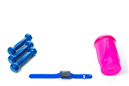 Sport Concepts. Three Barbells with Fitness Watch and Shaker Lay Together on White Surface. Copyspace image.Horizontal Shot
