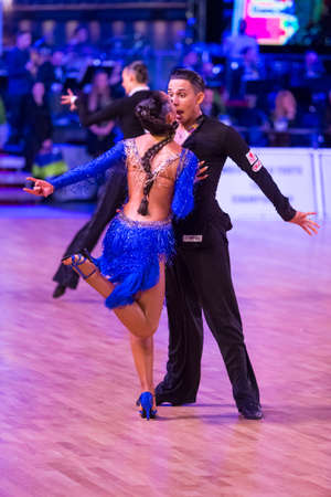 Riga, Latvia-December 16, 2018: Professional Adult Dance Couple Performs Youth Latin-American Program on the WDSF Baltic Grand Prix-2108 Championship in December 16, 2018 in Riga, Latvia
