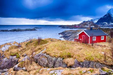 Hamnoy Village at Lofoten Islands in Norway.Horizontal Image Composition