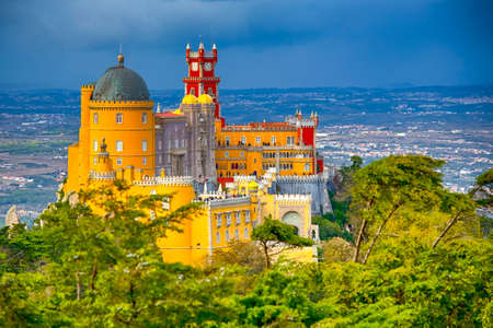 World Travel Heritage. Renowned Pena Palace in Sintra City in Portugal Located on Sintra Hills. Horizontal Image Editorial