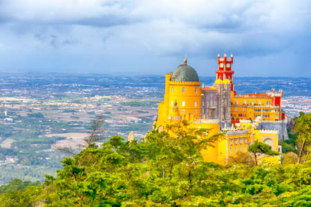 Renowned Pena Palace in Sintra City in Portugal Located on Sintra Hills. Horizontal Image Editorial