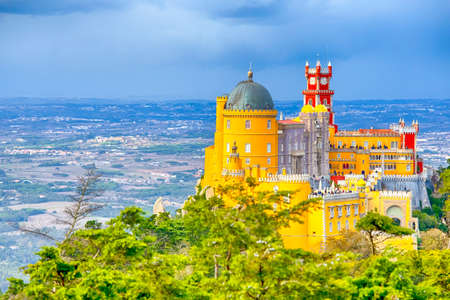 World Heritage Travel Destinations. Ancient Pena Palace of King Family in Sintra, Portugal.Horizontal Image Composition