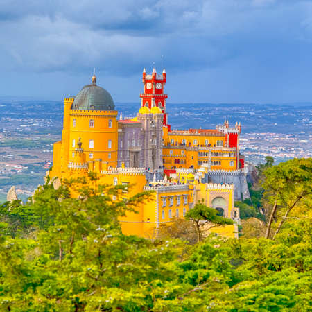 World Heritage. Ancient Pena Palace of King Family in Sintra, Portugal. Square Image Editorial