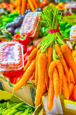 Variety of Vegetables with Carrot on Foreground.Vertical Image