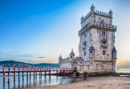 Famous Tourist Destinations. Belem Tower on Tagus River in Lisbon at Blue Hour, Portugal.Horizontal Image Composition Stock fotó