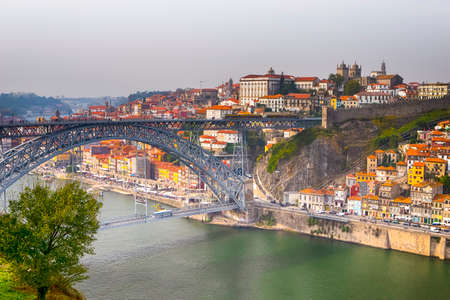 Travel Destinations. Amazing Porto City In Portugal at Dusk.Horizontal Image