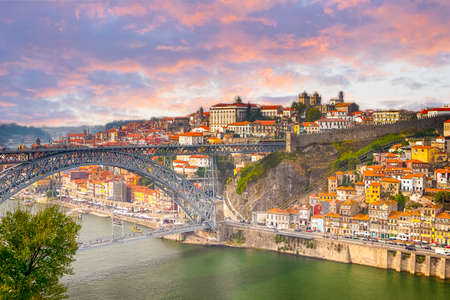 Famous Travel Destinations. Amazing Porto City In Portugal at Dusk.Horizontal Shot