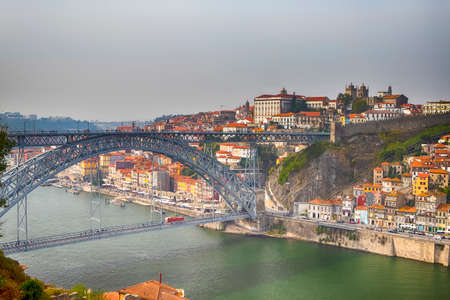 Famous Destinations. Amazing Porto City In Portugal at Sunset. Horizontal Image Orientation