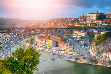 Travel places. Beautiful Porto City In Portugal at Dusk.Horizontal Image