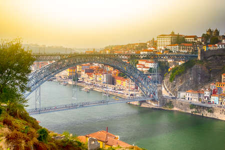 Famous Destinations. Amazing Porto City In Portugal at Sunset. Horizontal Image