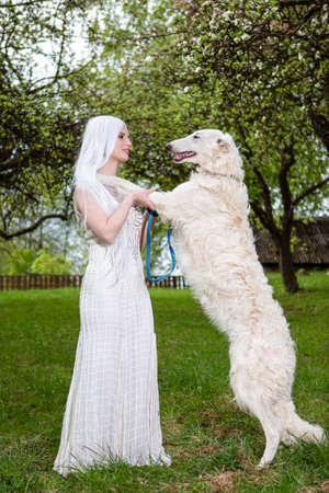 Long Haired Caucasian Female Posing with Greyhound in Farm Park. Vertical Image Banco de Imagens