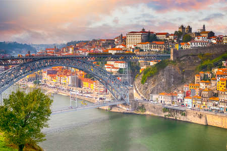 Beautiful Porto City In Portugal at Dusk.Horizontal Image Banco de Imagens