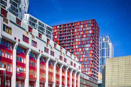 Line of Modern Colorful Buildings Together in City At Daytime.Horizontal Image