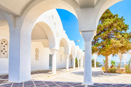 Archs and Pillars of Traditional  Houses of Santorini Island In Greece at Summer Time.Horizontal image 版權商用圖片