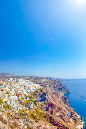 Marvelous View of Picturesque Thira City on Santorini island in Greece at Day. Vertical Image