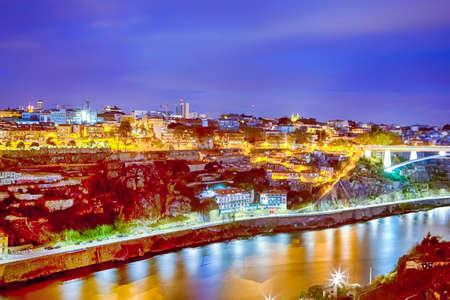 Porto Cityscape Panorama from Douro river Bridge. Horizontal Image