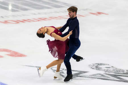 Minsk, Belarus –October 19, 2019: Couple of Arianna Wroblewska and Stephane Walker from Switzerland Performs Ice dance Free Dance Program on Ice Star Championship in October 19, 2019, in Minsk, Belarus
